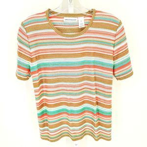 Alfred Dunner Brown, Teal, Coral, And White Stripe